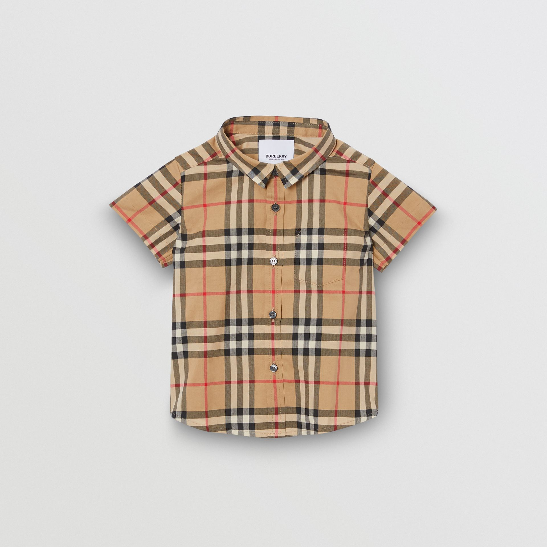 Short-sleeve Vintage Check Cotton Shirt in Archive Beige - Children | Burberry Australia - gallery image 0