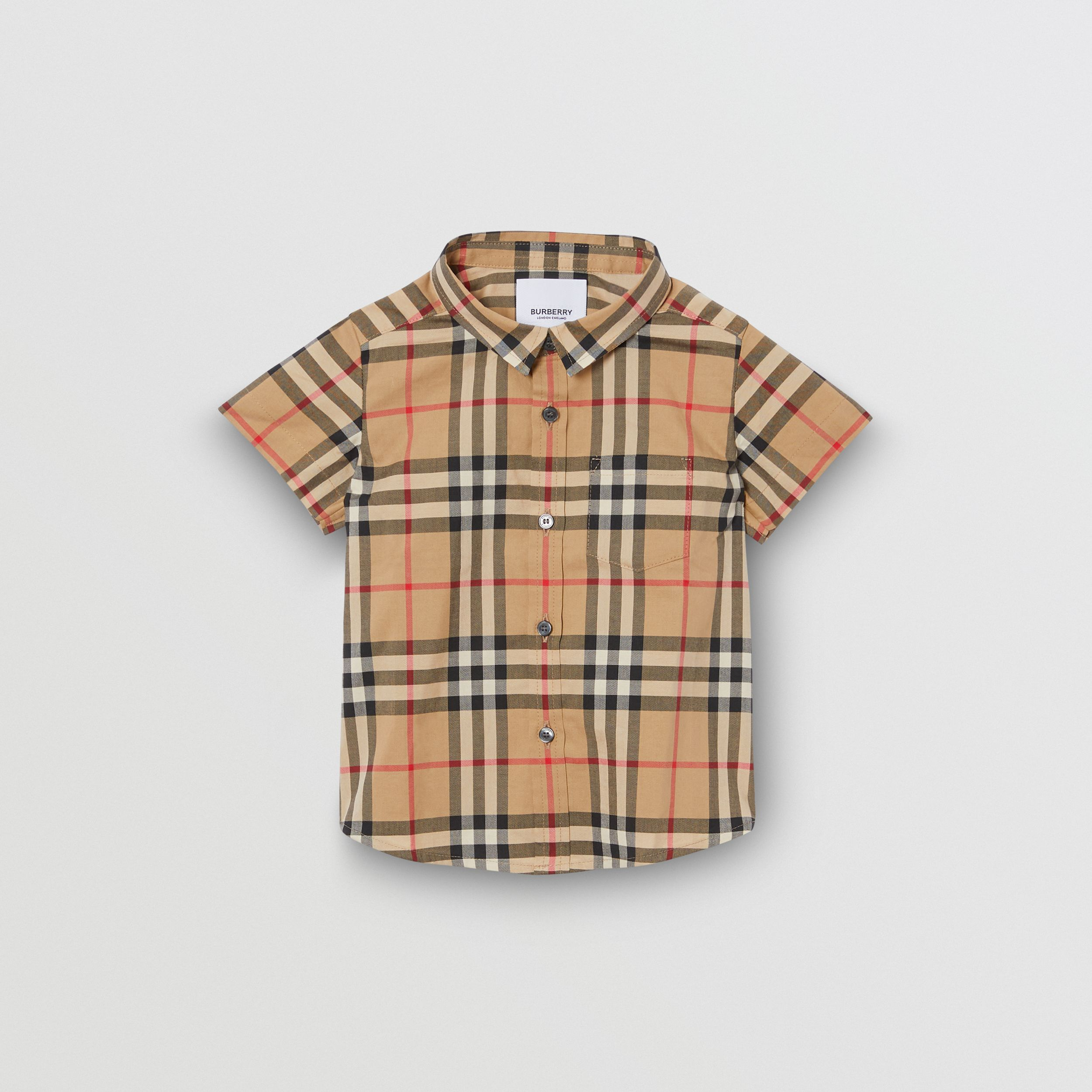 Short-sleeve Vintage Check Cotton Shirt in Archive Beige - Children | Burberry - 1