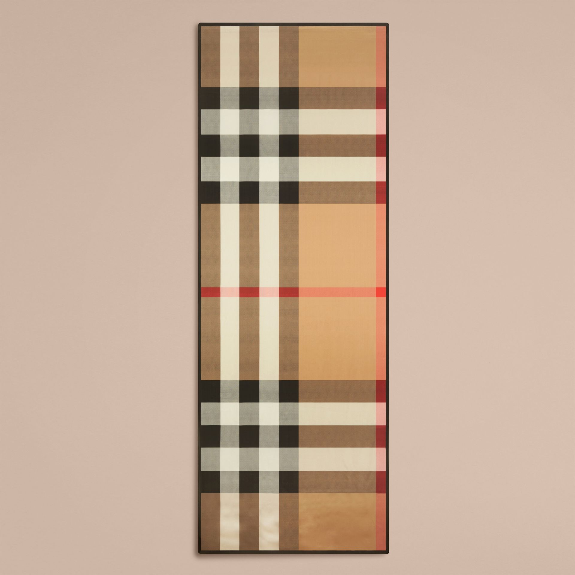 Lightweight Check Silk Scarf in Camel - gallery image 4