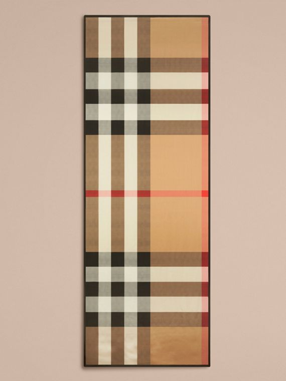 Lightweight Check Silk Scarf in Camel - Women | Burberry - cell image 3