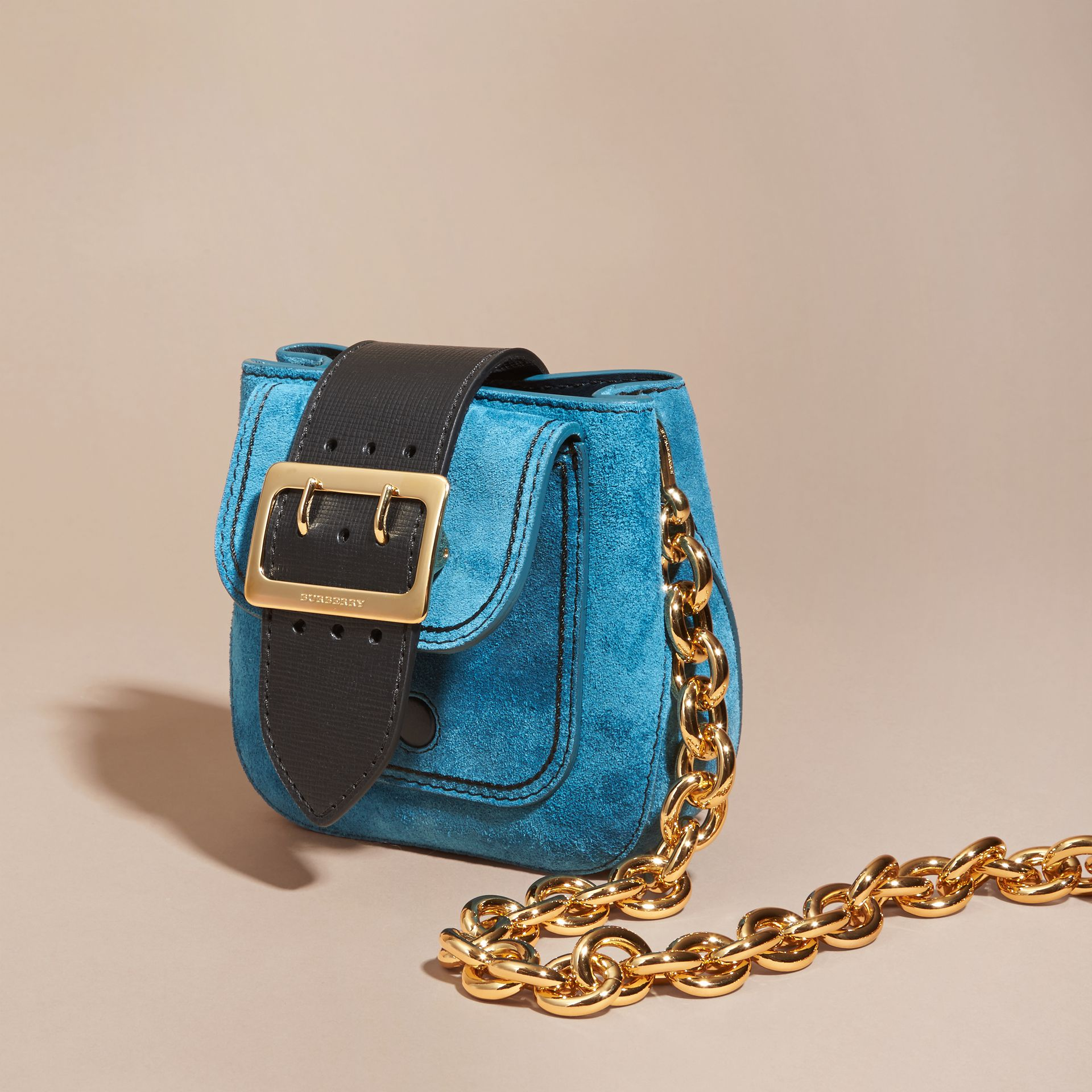 Peacock blue The Small Square Buckle Bag in Suede and Leather Peacock Blue - gallery image 8