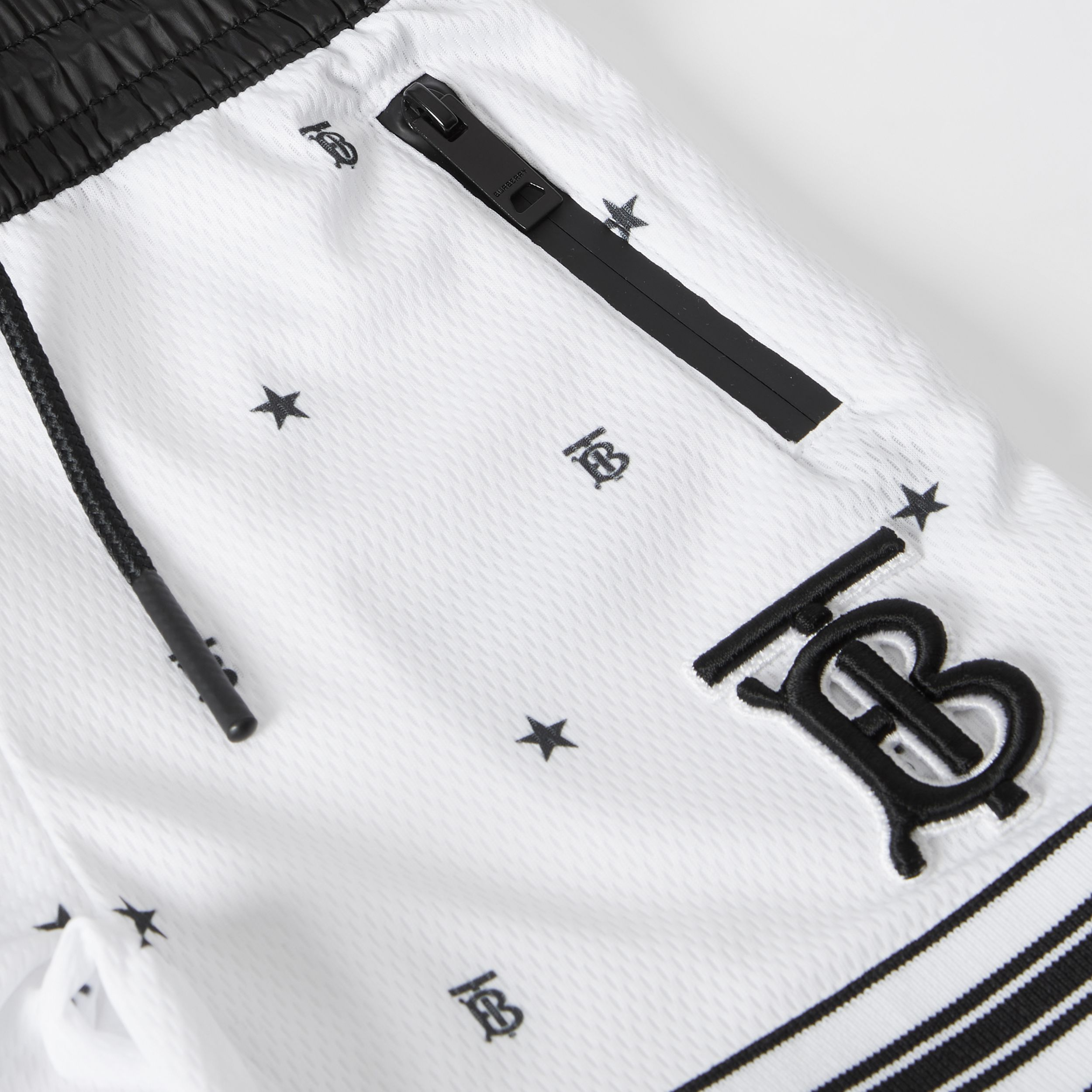 Star and Monogram Motif Jersey Mesh Shorts in Black - Children | Burberry - 2