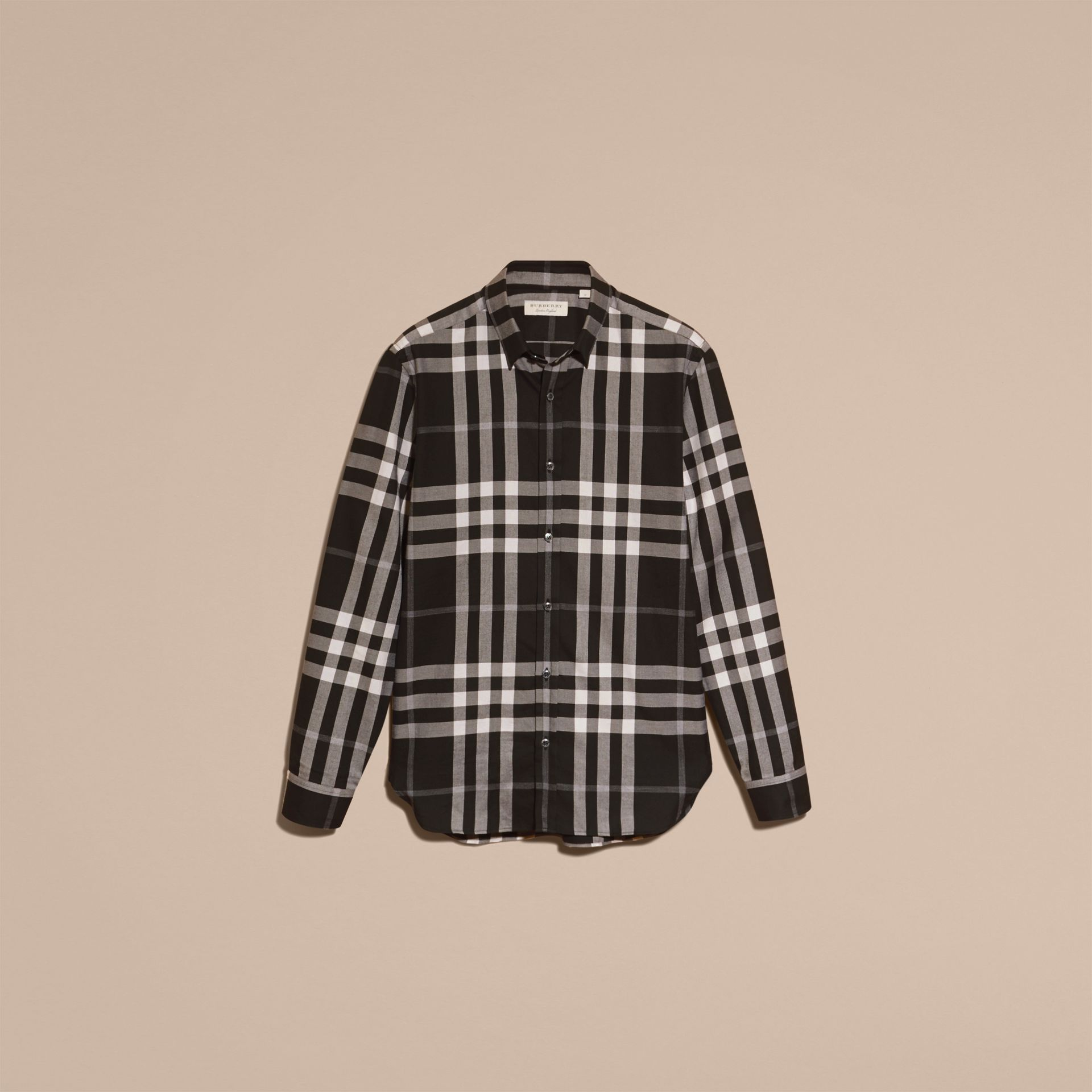 Black Check Cotton Cashmere Flannel Shirt Black - gallery image 4