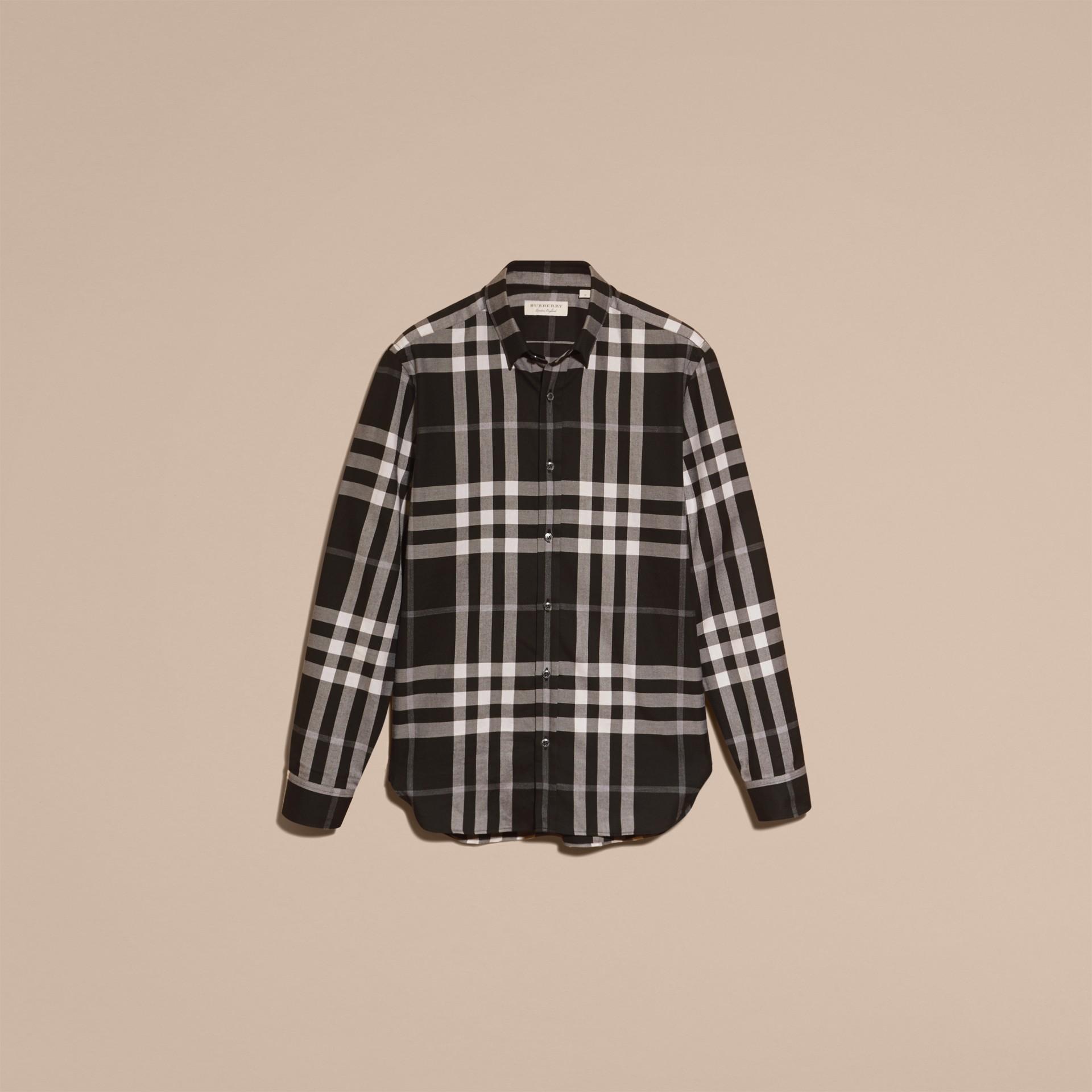 Negro Camisa a cuadros en franela de algodón y cachemir Negro - imagen de la galería 4