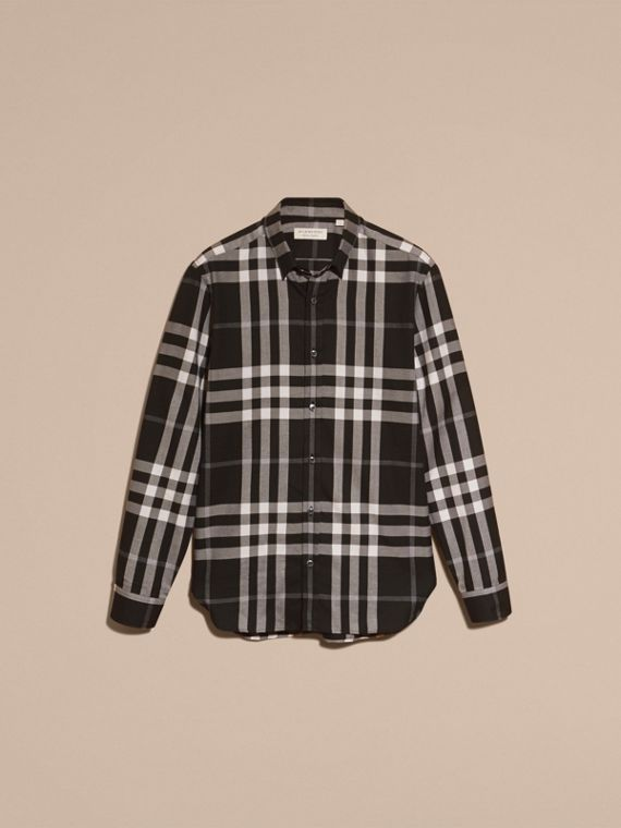 Check Cotton Cashmere Flannel Shirt in Black - cell image 3