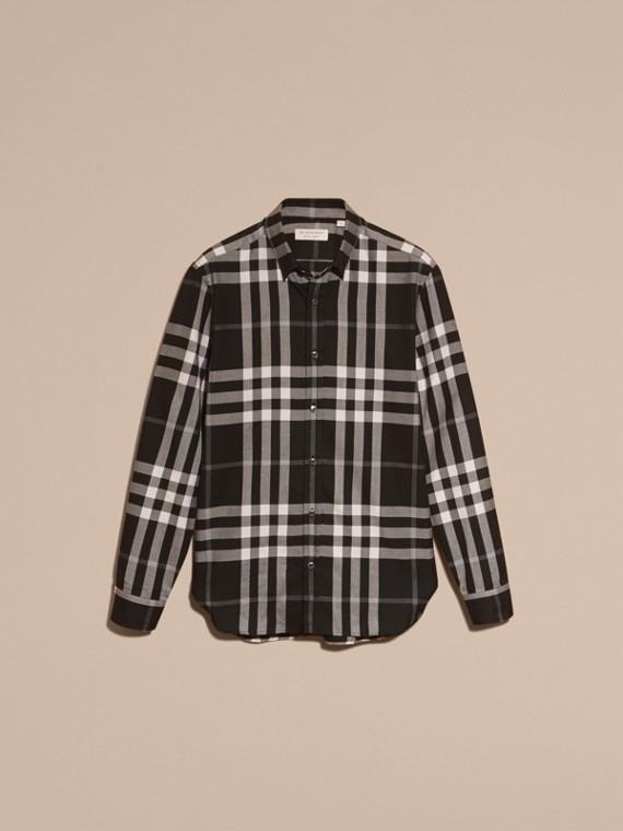 Negro Camisa a cuadros en franela de algodón y cachemir Negro - cell image 3