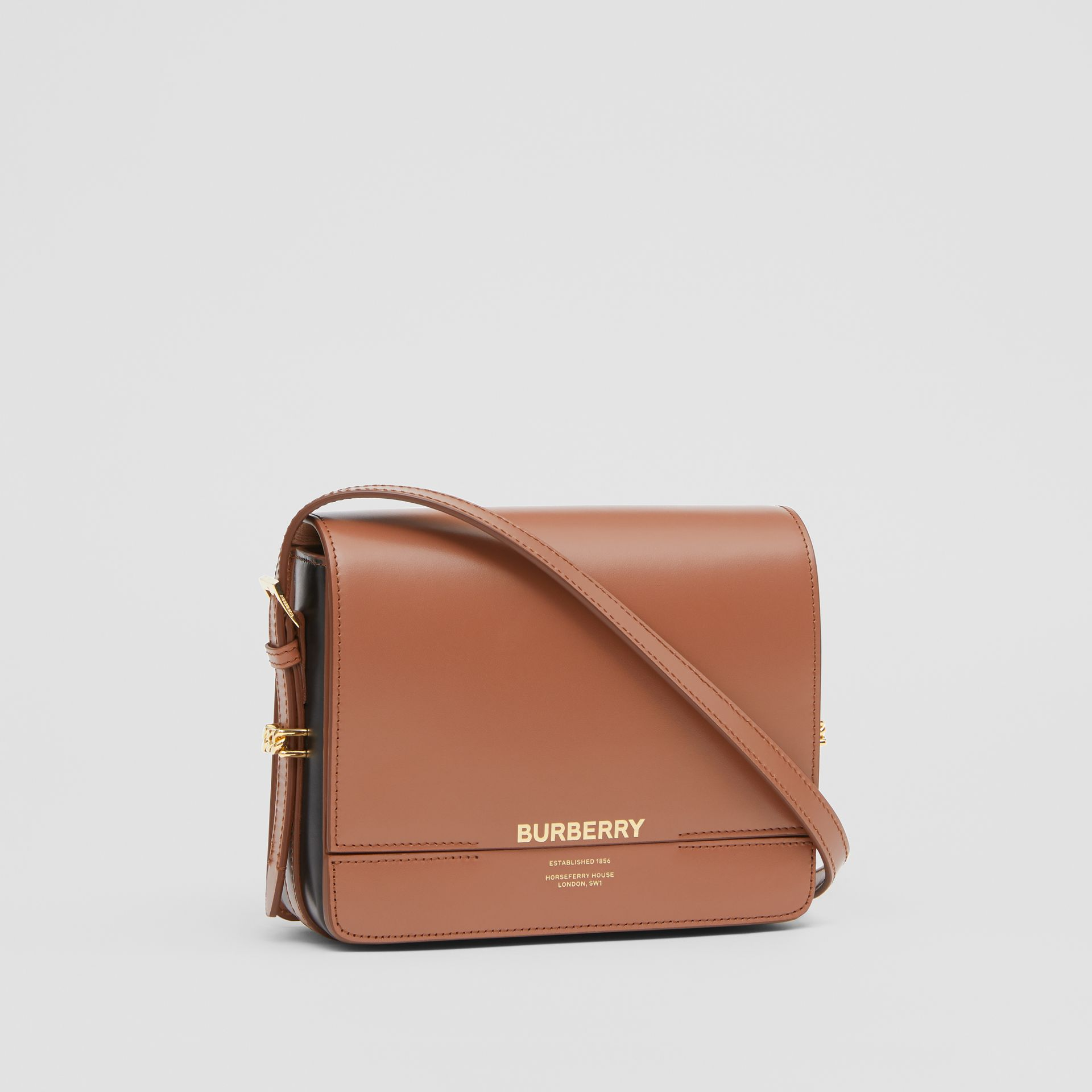 Small Two-tone Leather Grace Bag in Malt Brown/black - Women | Burberry - gallery image 6