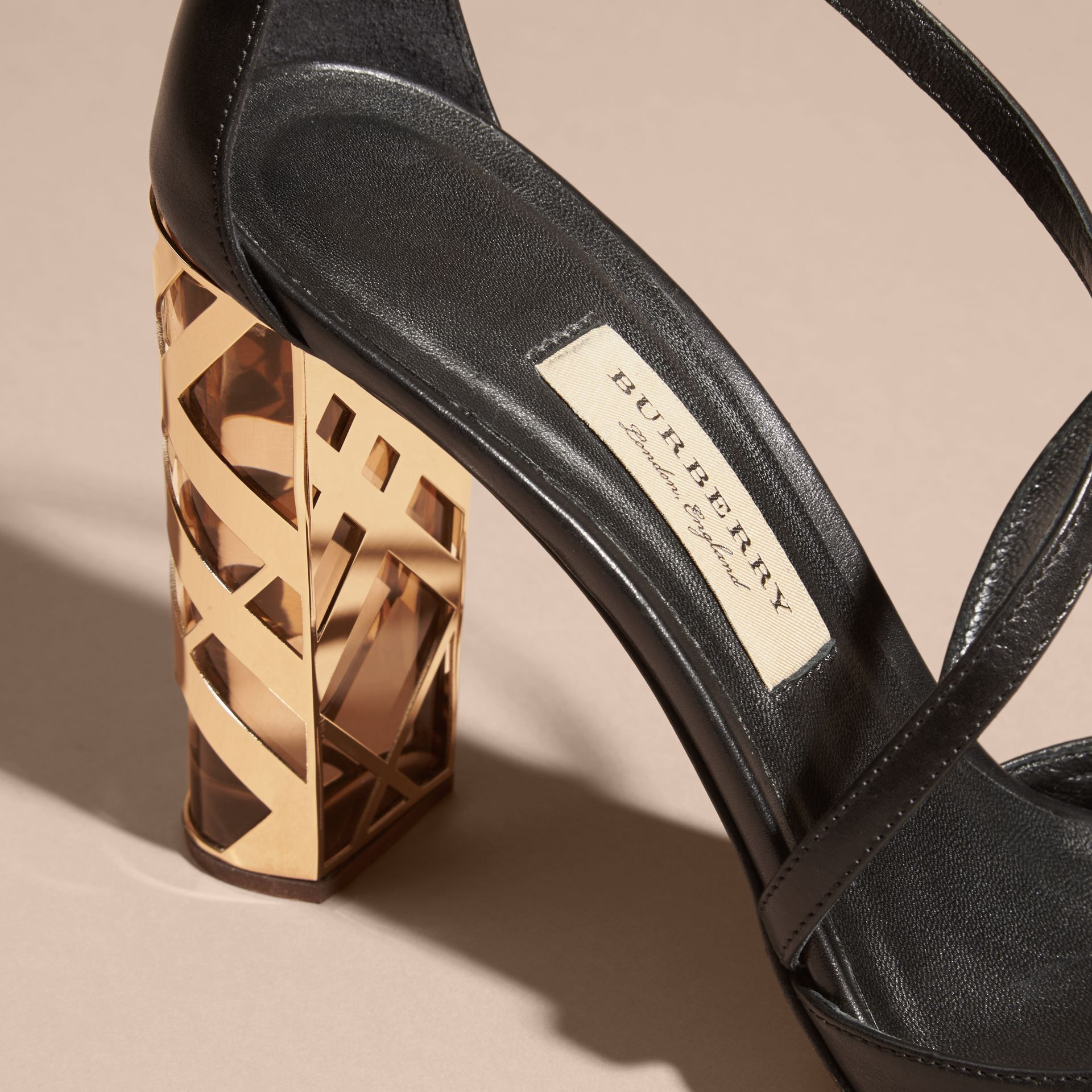 Black Check Heel Leather Sandals - gallery image 2