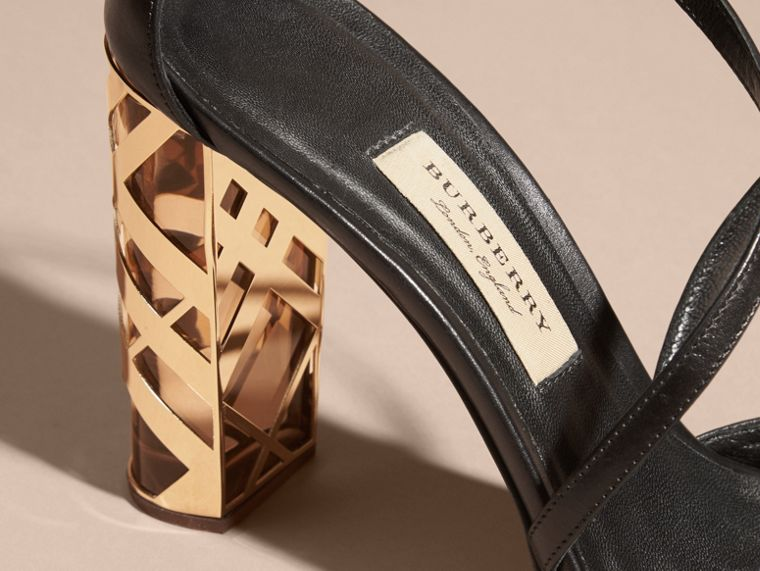 Black Check Heel Leather Sandals - cell image 1