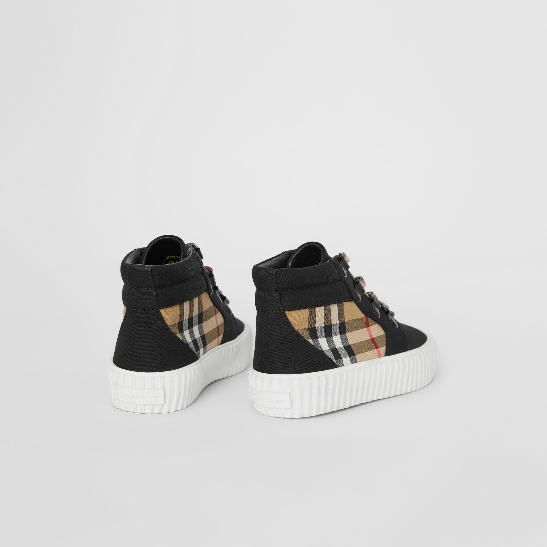 Vintage Check Detail High-top Sneakers in Black/antique Yellow - Children | Burberry - gallery image 2