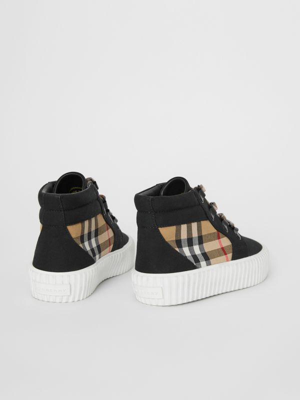 Vintage Check Detail High-top Sneakers in Black/antique Yellow - Children | Burberry - cell image 2