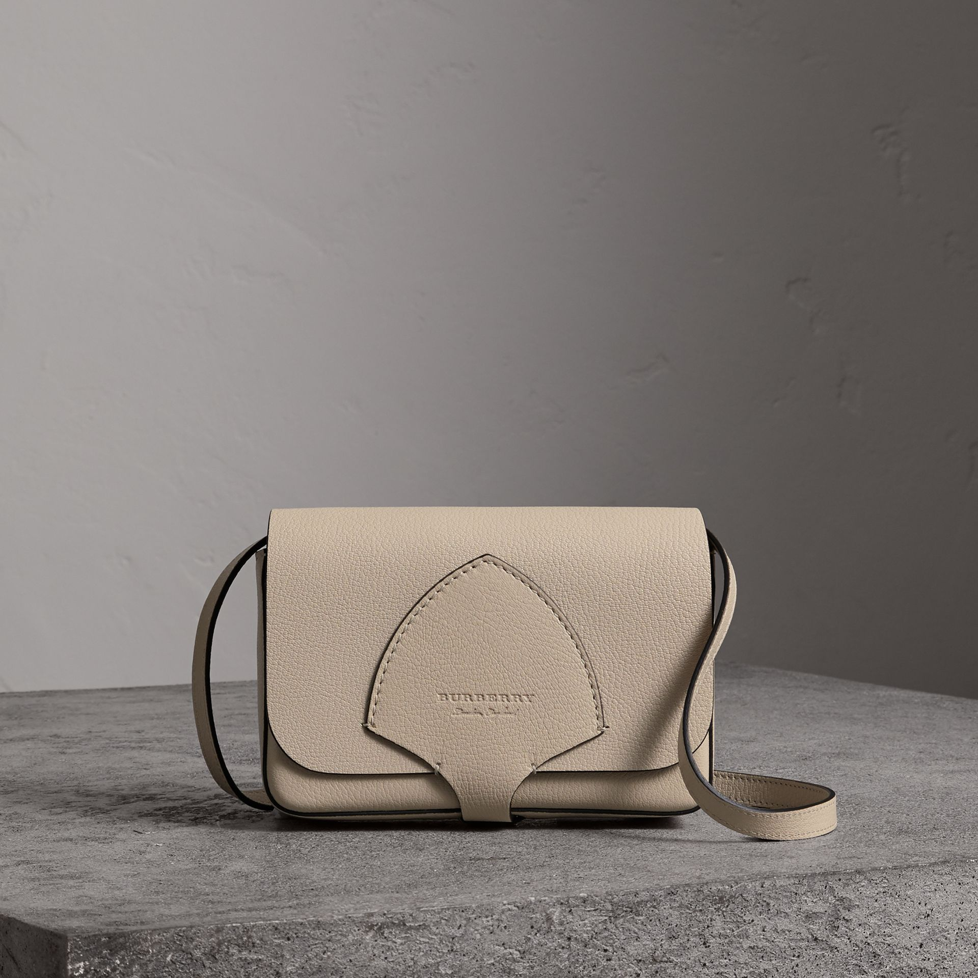 Equestrian Shield Leather Wallet with Detachable Strap in Stone - Women | Burberry Singapore - gallery image 0