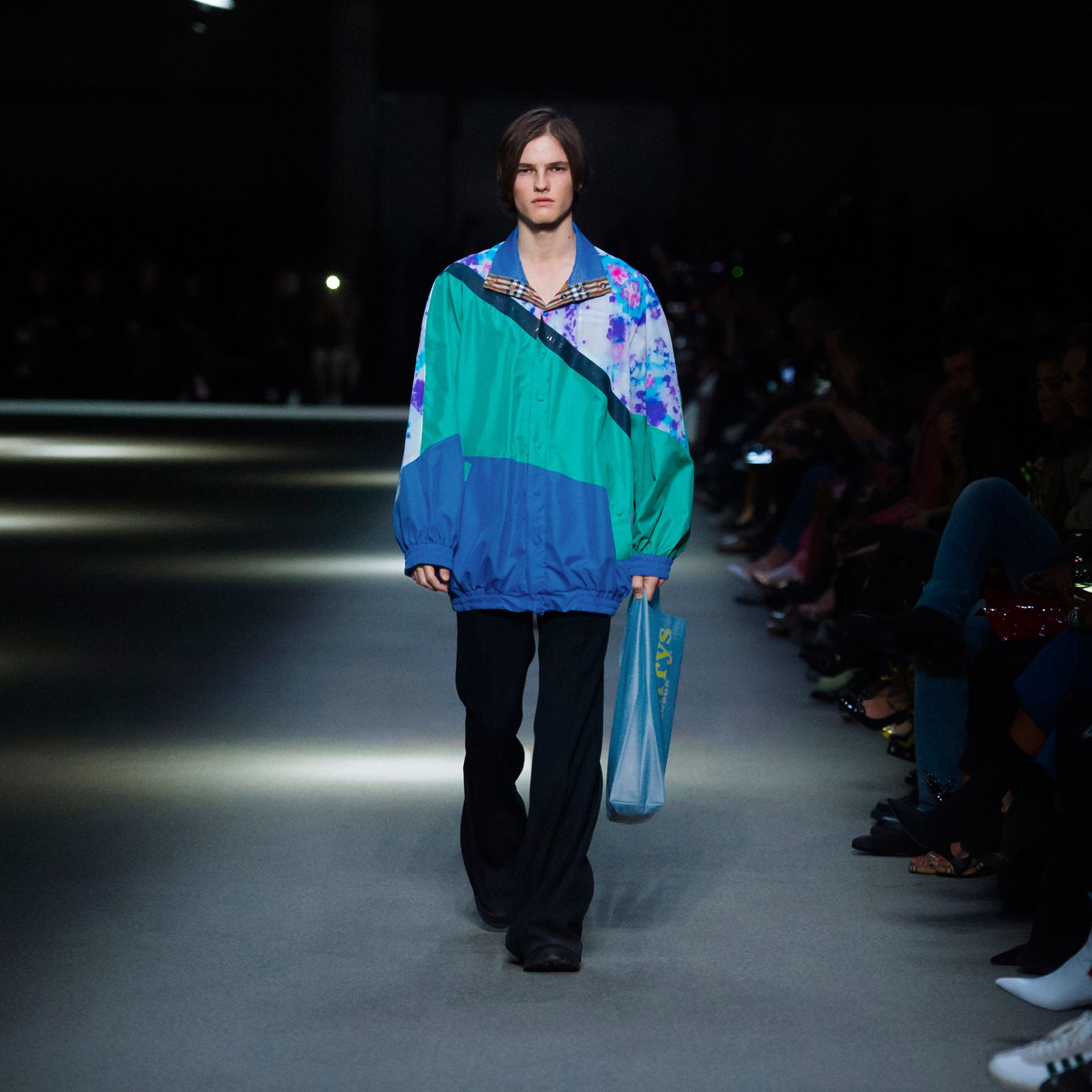 Reversible Tie-dye Silk Shell Suit Jacket in Turquoise | Burberry Singapore - gallery image 6