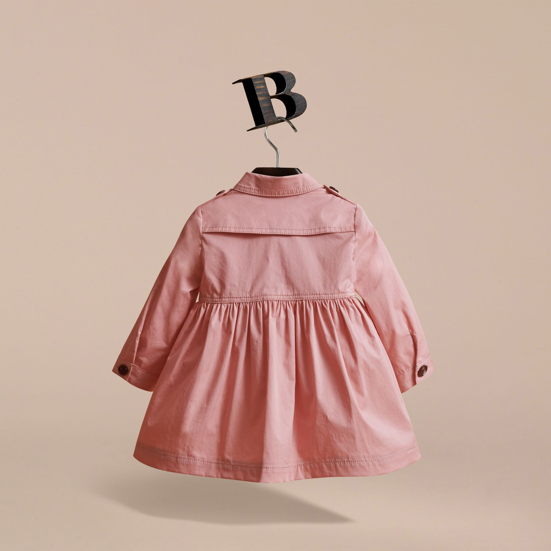 Stretch Cotton Trench Dress in Pale Rose | Burberry Australia - gallery image 4