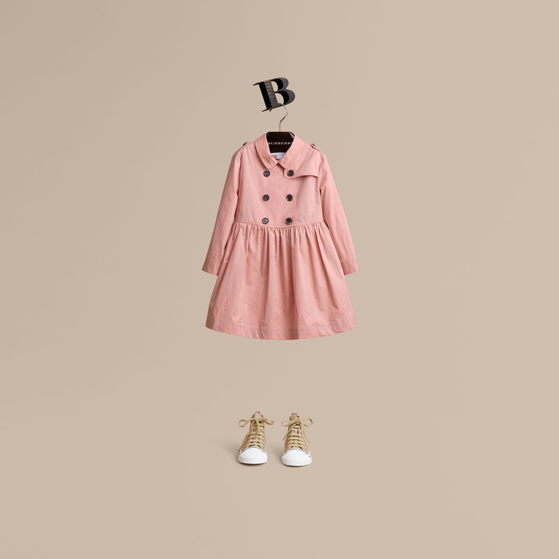 Check Detail Stretch Cotton Trench Dress in Pale Rose - Girl | Burberry - gallery image 1