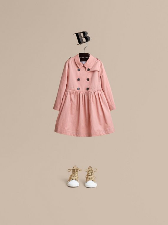 Check Detail Stretch Cotton Trench Dress in Pale Rose