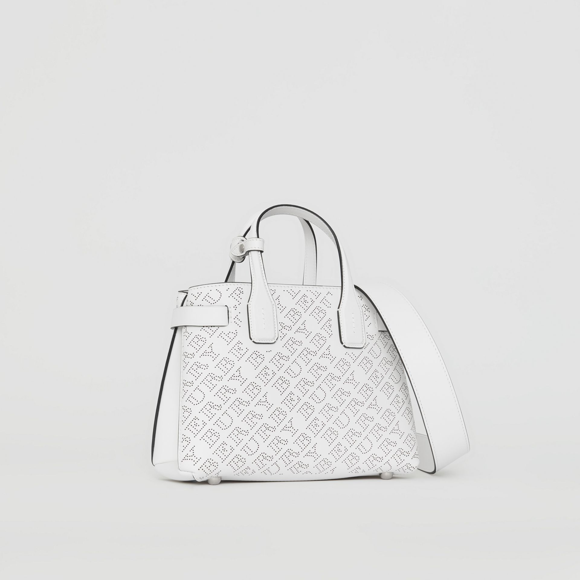 The Small Banner in Perforated Logo Leather in Chalk White - Women | Burberry - gallery image 0