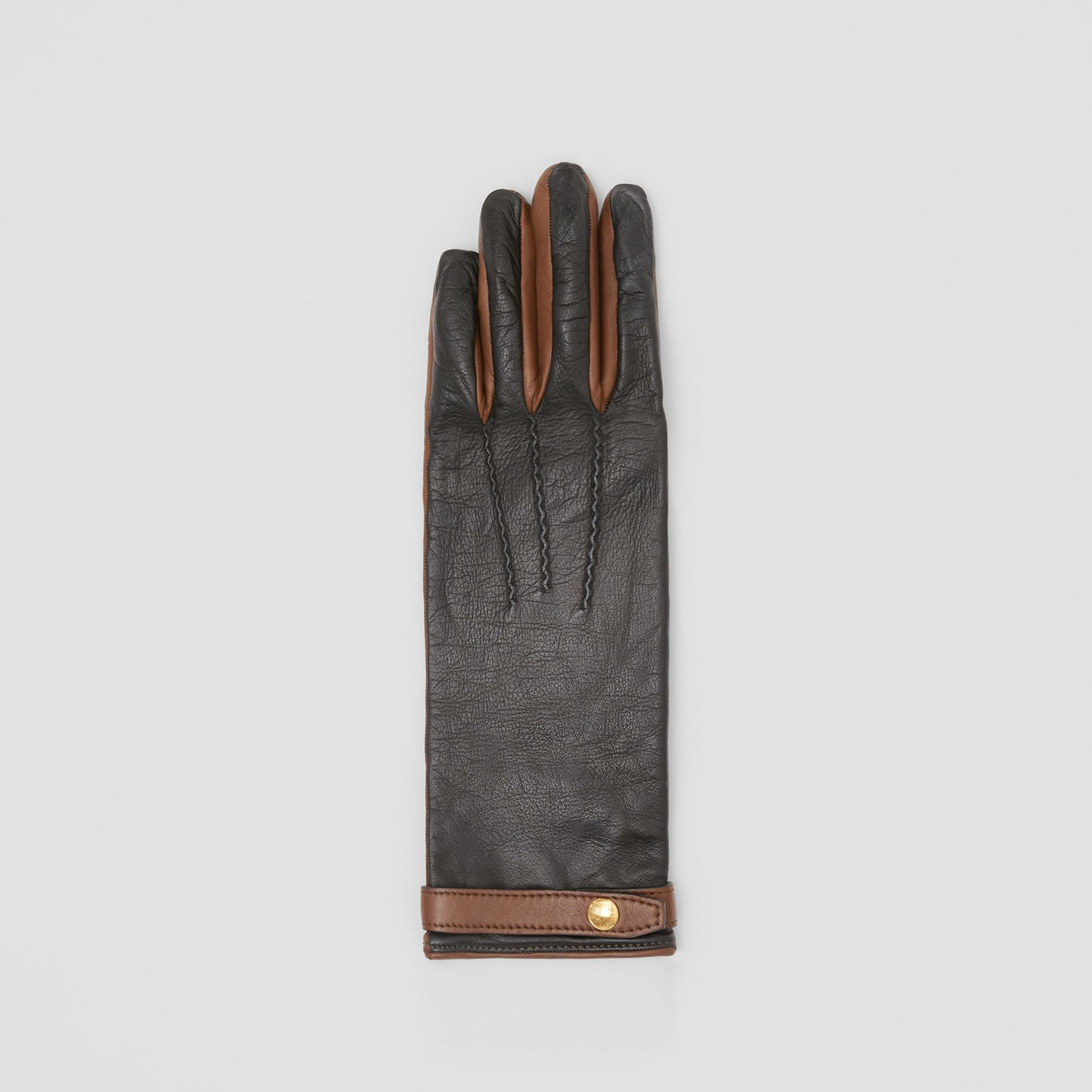 Silk-lined Two-tone Lambskin Gloves in Black/brown - Women | Burberry - gallery image 2