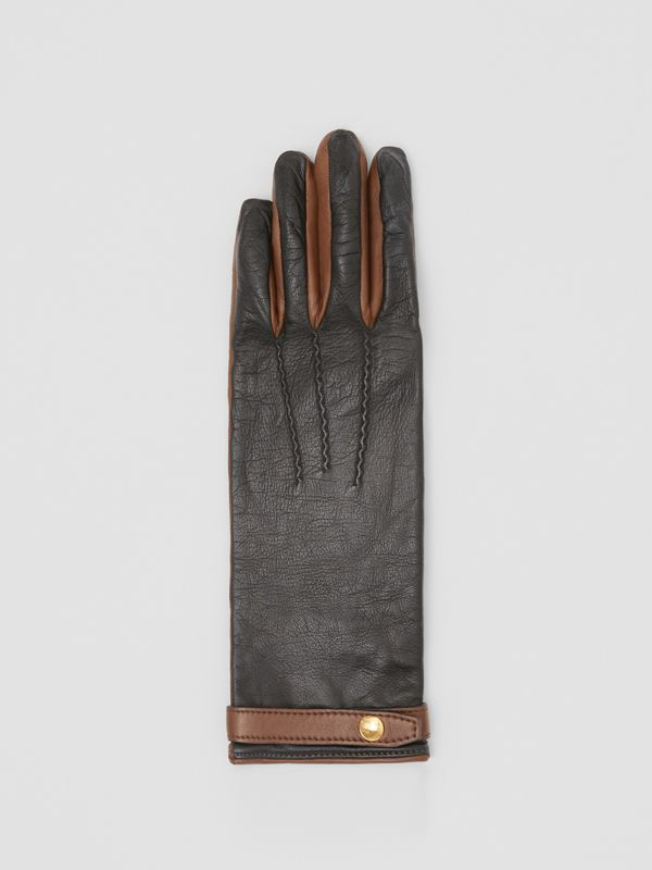 Silk-lined Two-tone Lambskin Gloves in Black/brown - Women | Burberry - cell image 2