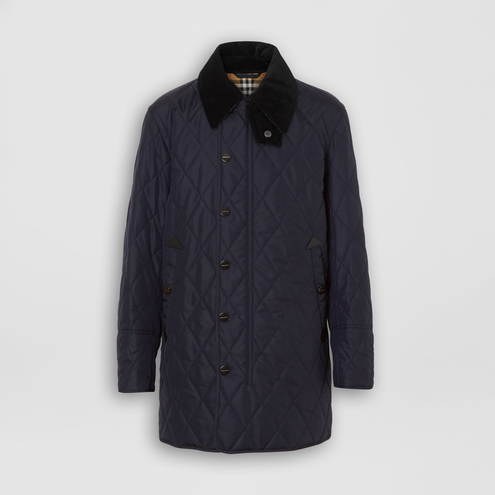 Detachable Hood Diamond Quilted Barn Jacket in Navy - Men | Burberry - gallery image 3