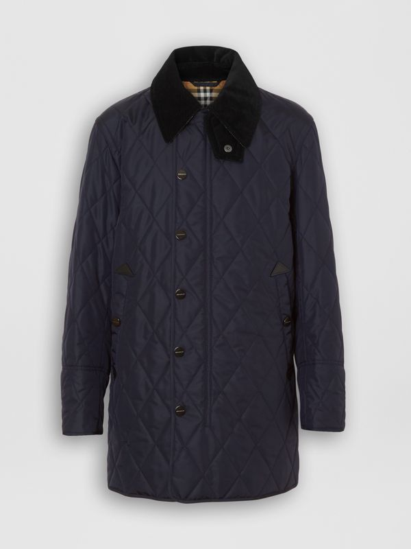 Detachable Hood Diamond Quilted Barn Jacket in Navy - Men | Burberry - cell image 3