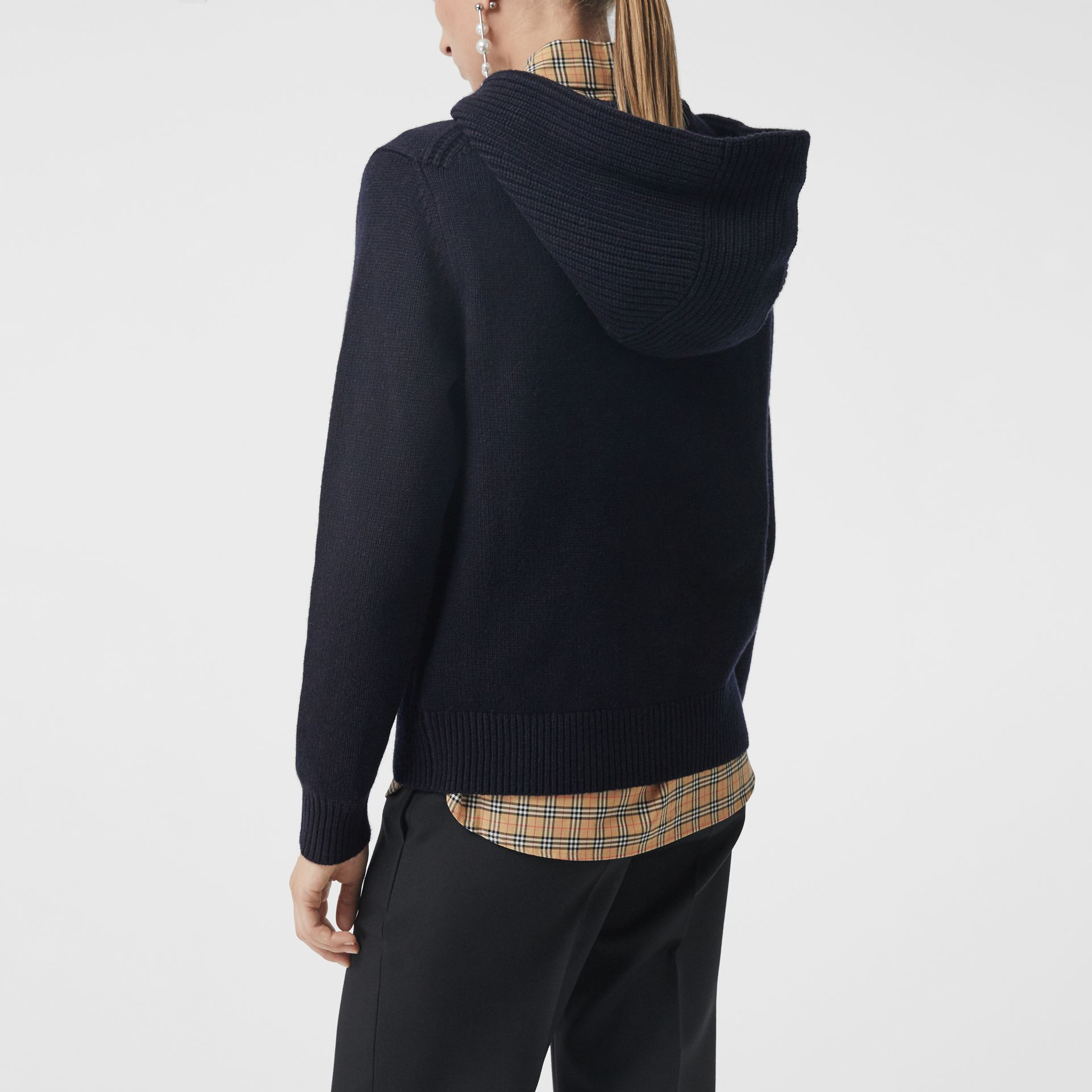 Embroidered Archive Logo Cashmere Hooded Top in Navy - Women | Burberry - gallery image 2