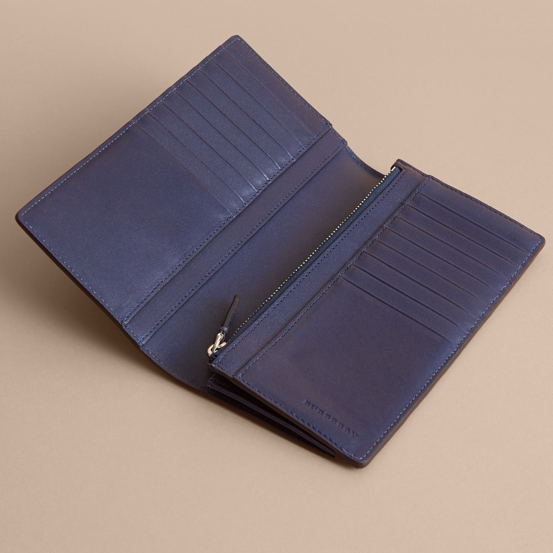 London Check and Leather Continental Wallet in Bright Lapis - Men | Burberry - gallery image 4