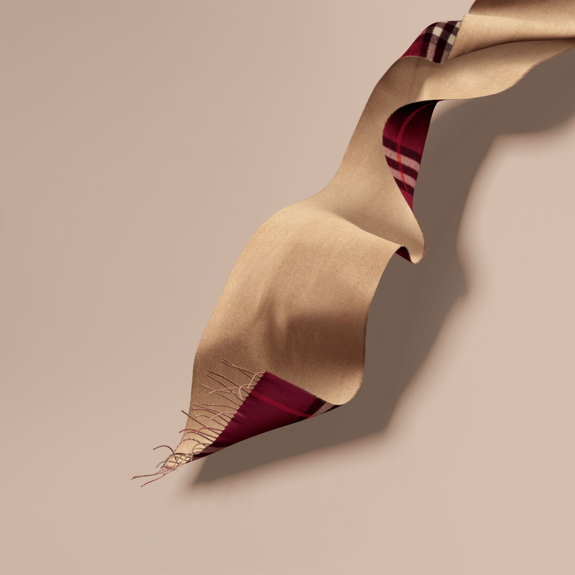 Reversible Check Cashmere and Block-colour Scarf in Claret - gallery image 7