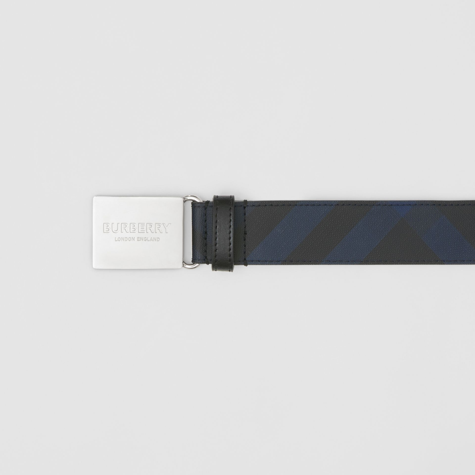 Plaque Buckle London Check and Leather Belt in Navy/black - Men | Burberry United States - gallery image 1