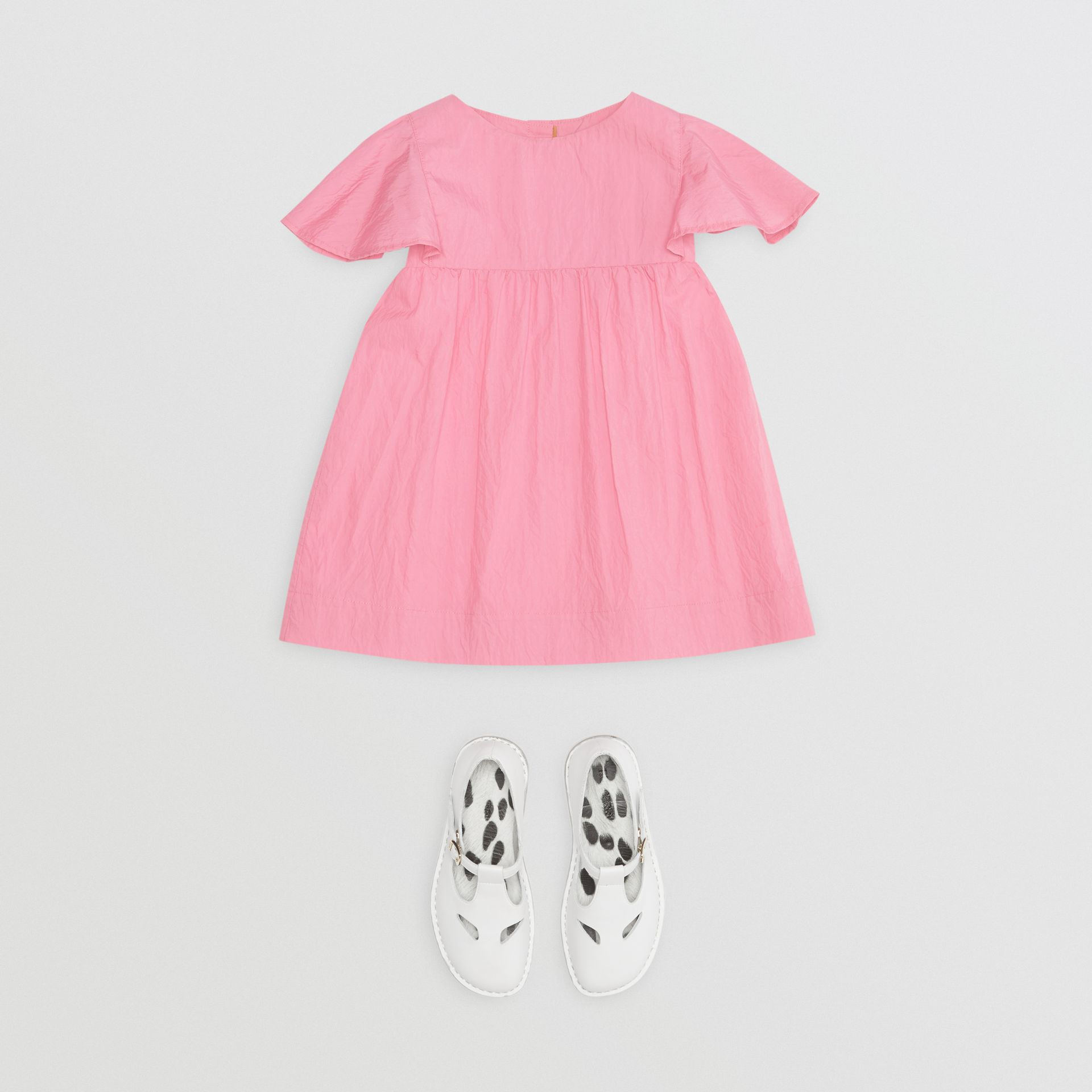 Ruffled Detail Crinkled Cotton Blend Dress in Bright Rose - Children | Burberry - gallery image 2
