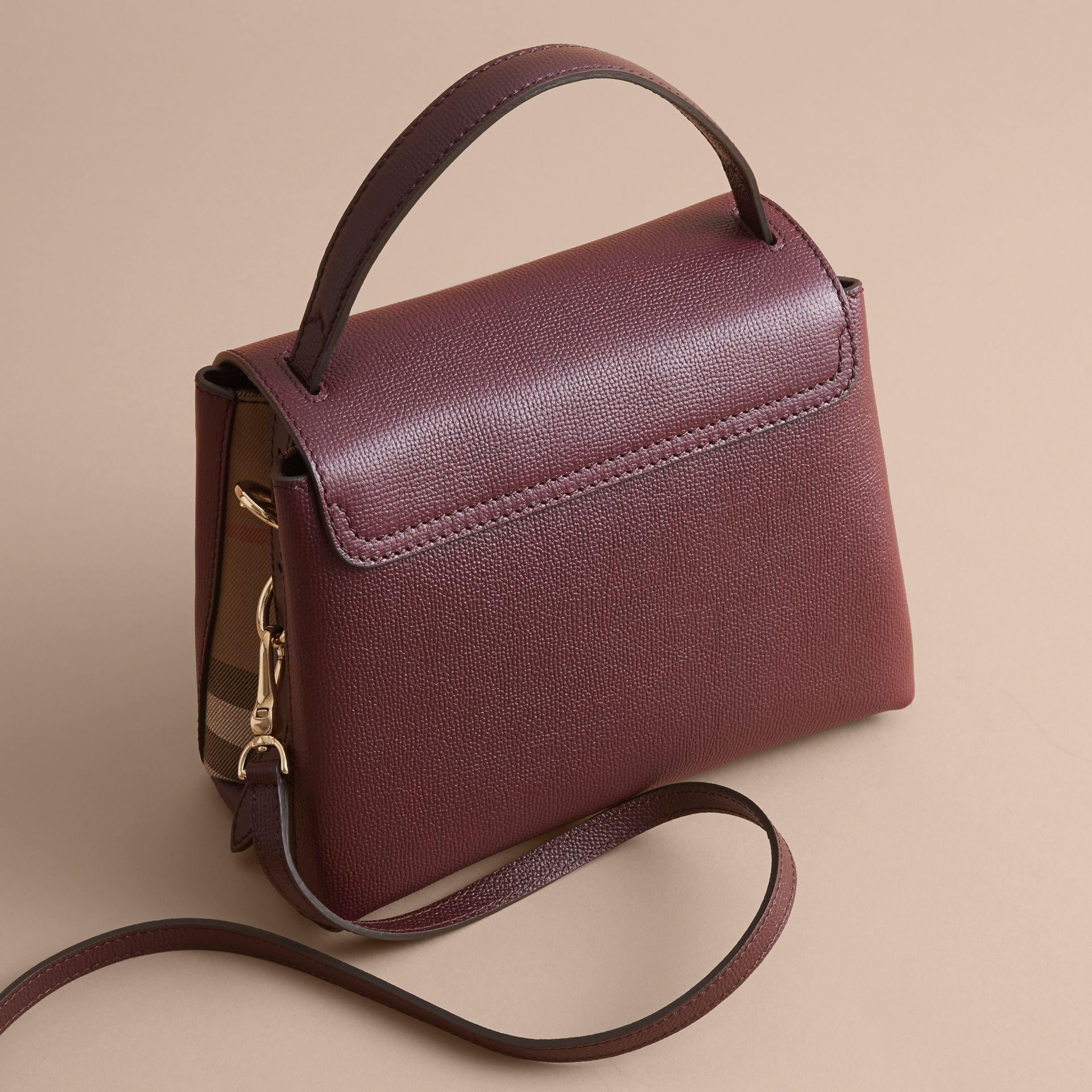 Small Grainy Leather and House Check Tote Bag in Mahogany Red - Women | Burberry - gallery image 4