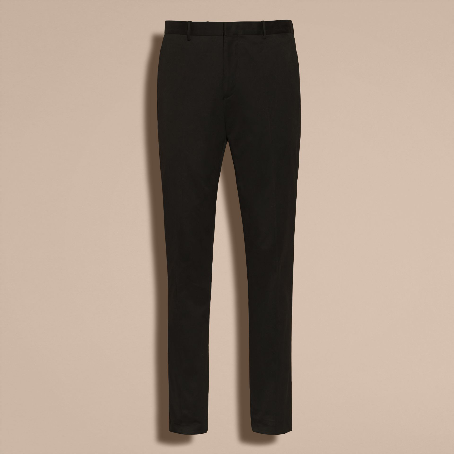 Black Slim Fit Cotton Trousers - gallery image 4