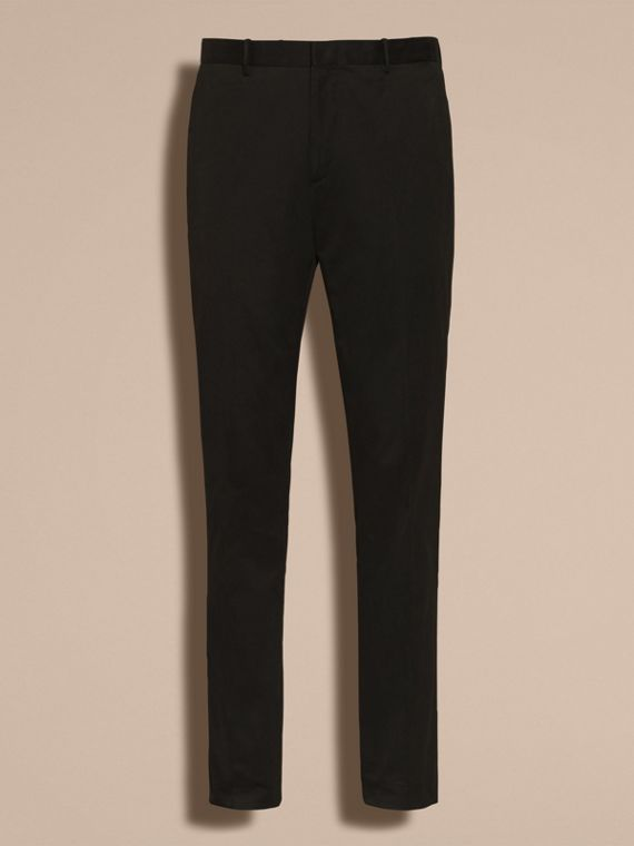 Black Slim Fit Cotton Trousers - cell image 3