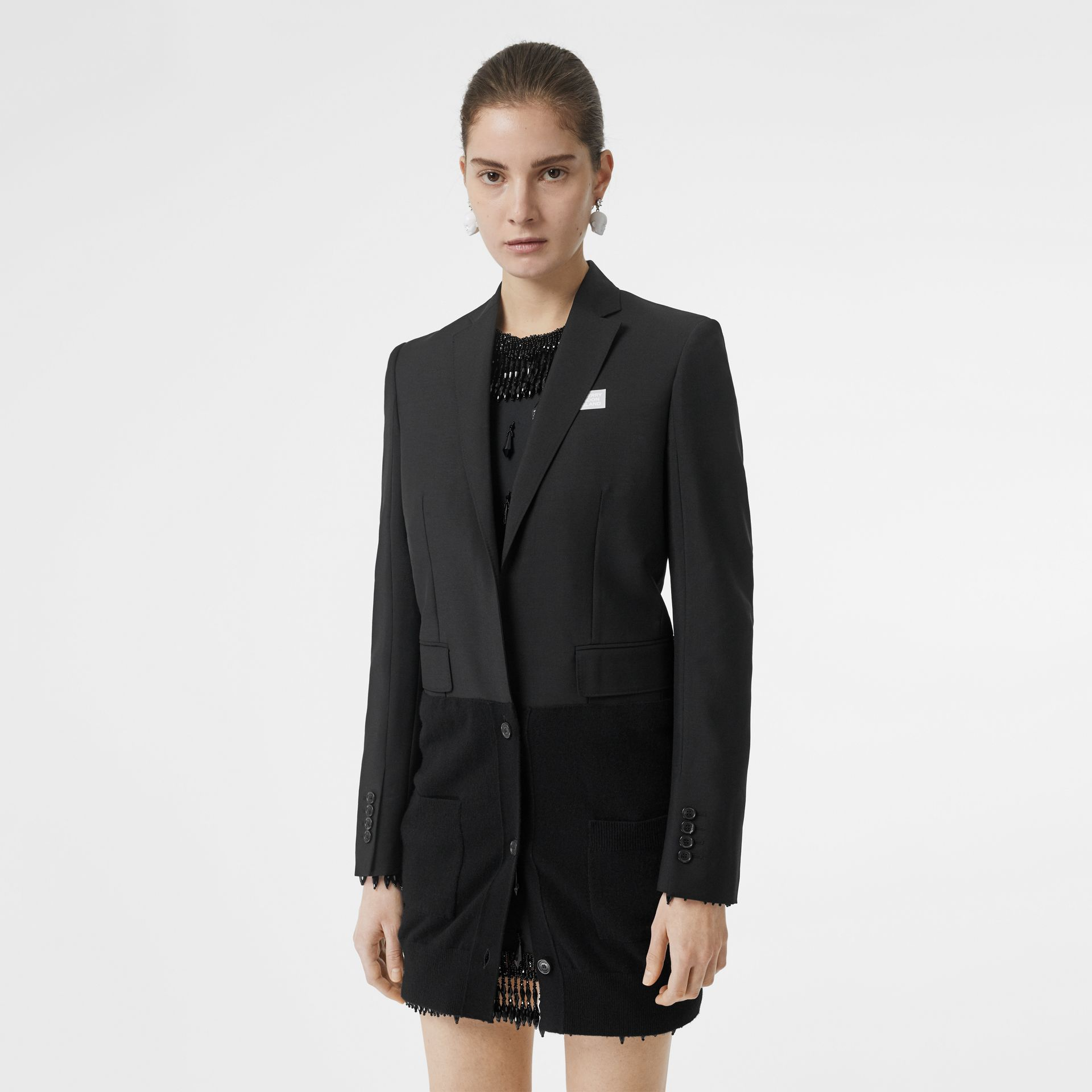 Cashmere Panel Wool Mohair Tailored Jacket in Black - Women | Burberry Canada - gallery image 6