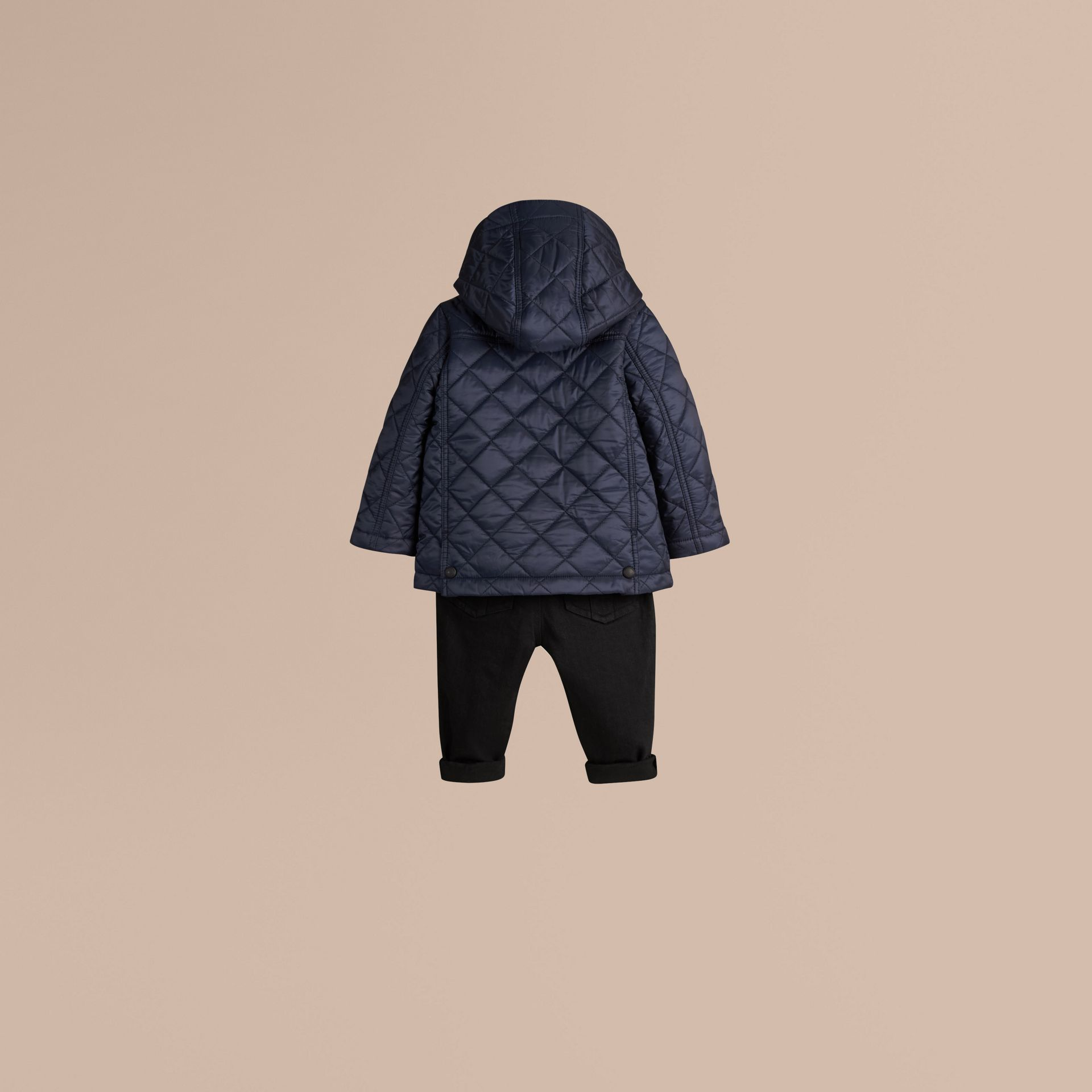 Check Detail Diamond-quilted Jacket Ink Blue - gallery image 3