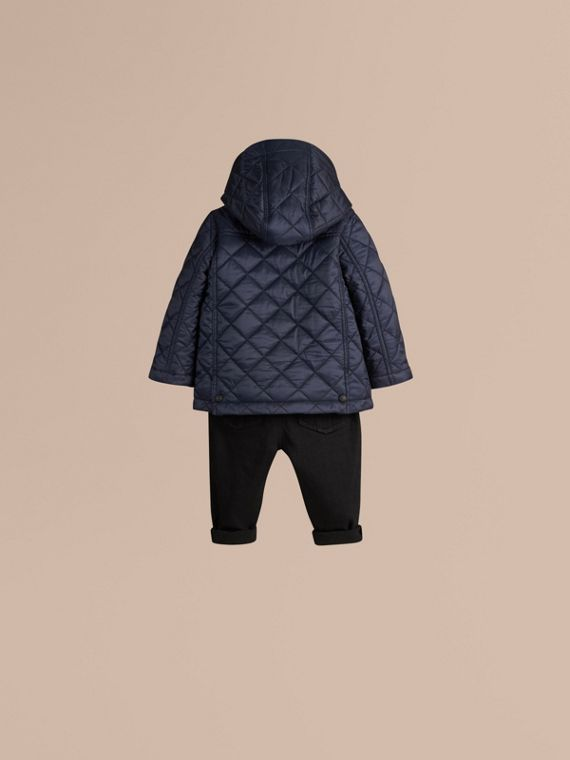 Ink blue Check Detail Diamond-quilted Jacket Ink Blue - cell image 3