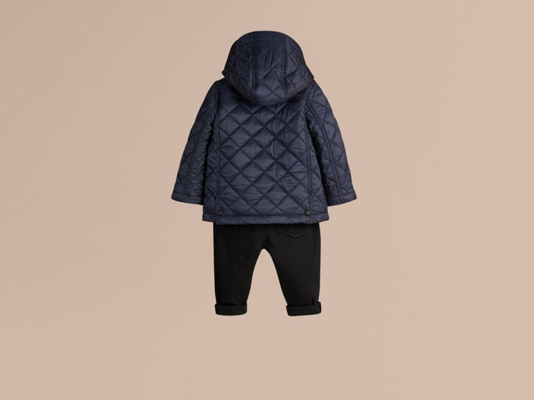 Check Detail Diamond-quilted Jacket in Ink Blue - cell image 2
