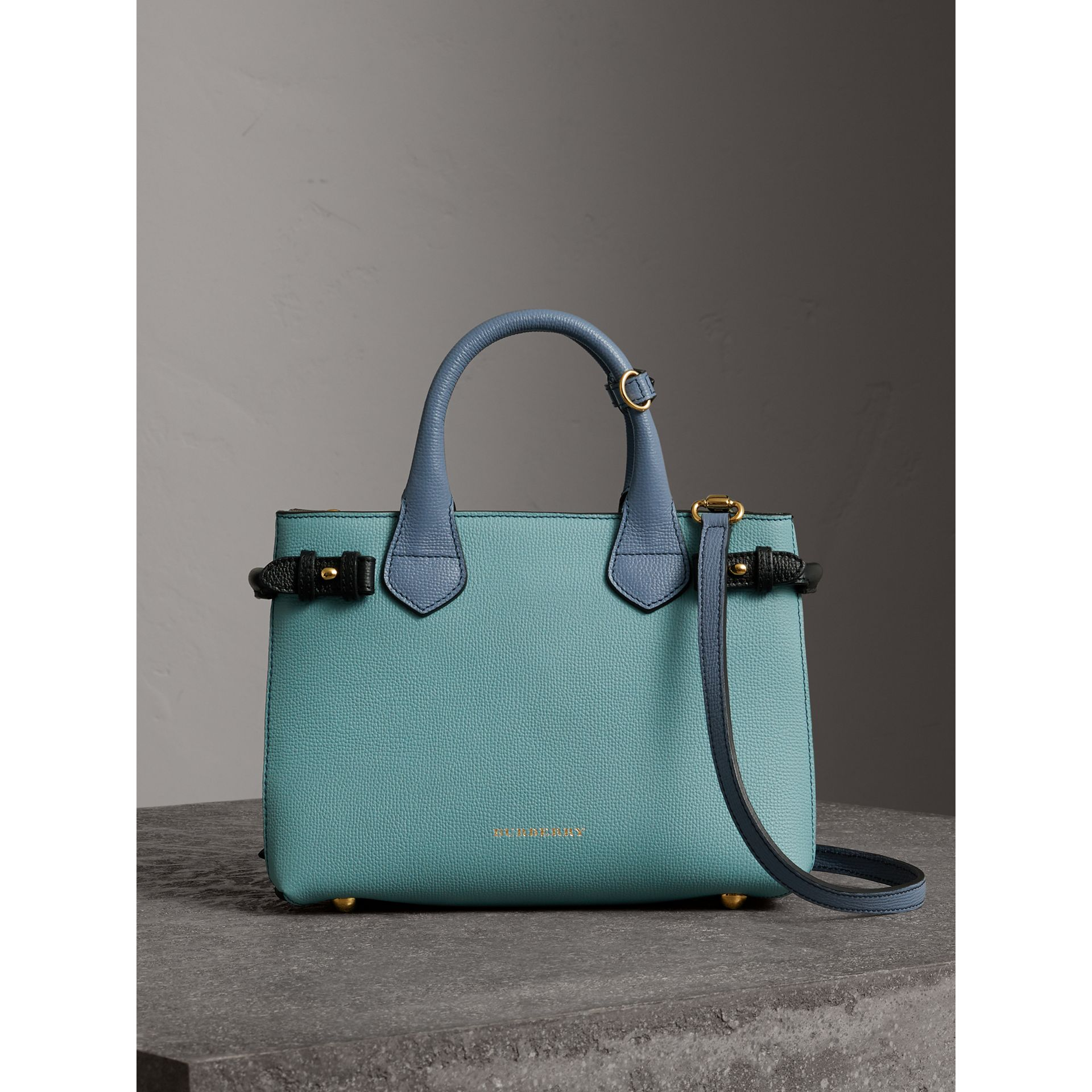The Small Banner in Tri-tone Leather and House Check in Pale Opal/slate Blue - Women | Burberry Singapore - gallery image 6