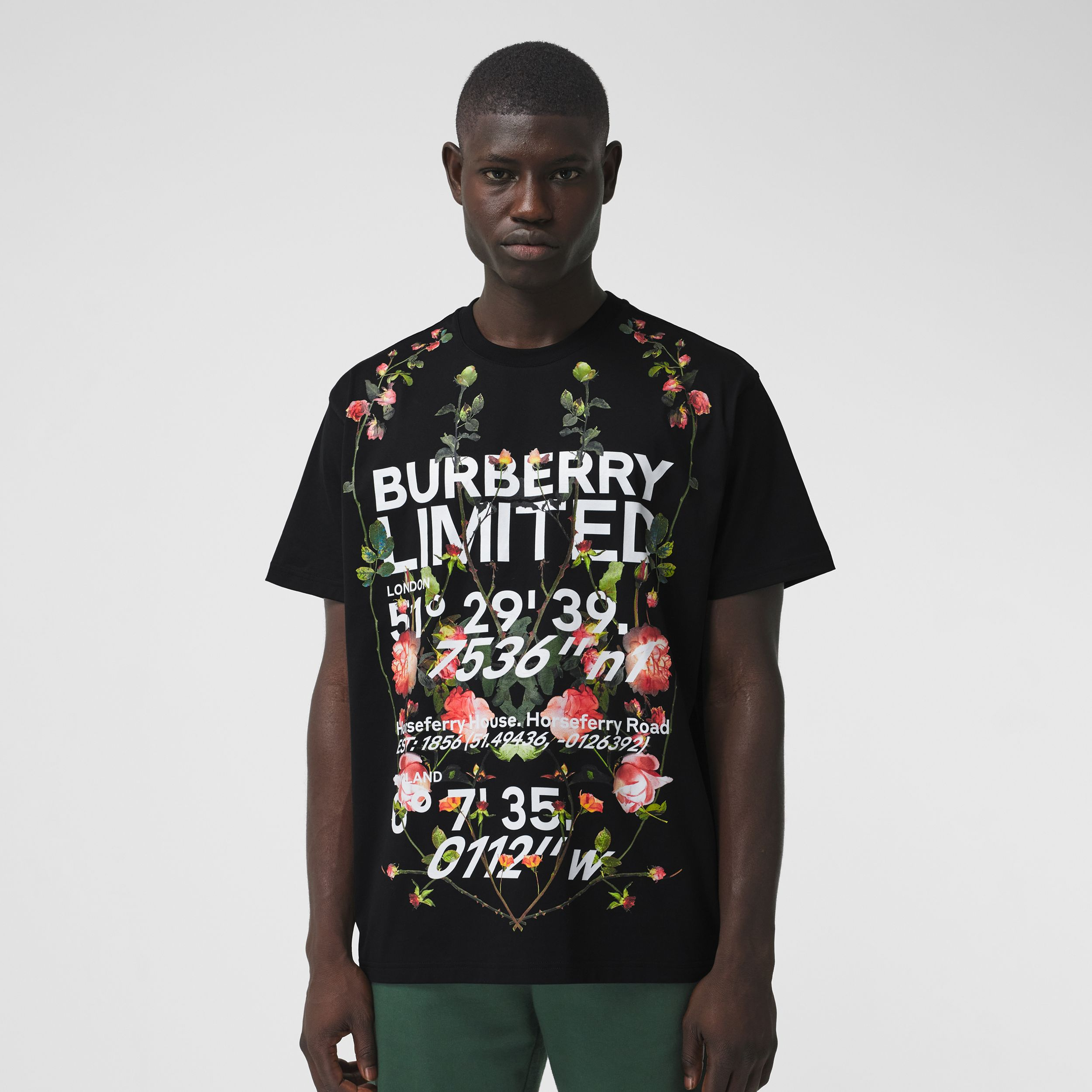 Montage Print Cotton Oversized T-shirt in Black - Men | Burberry Singapore - 1
