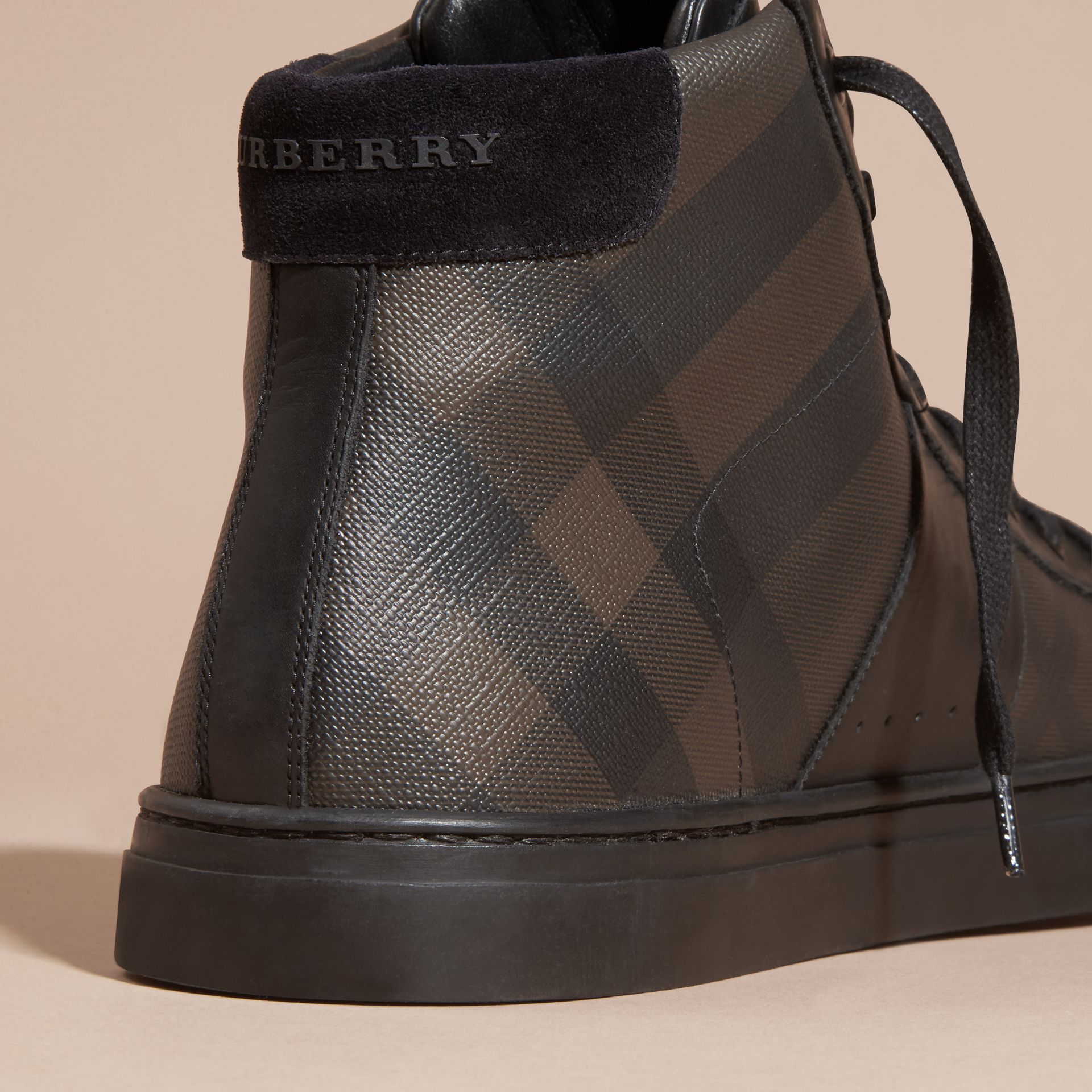 London Check and Leather High-Top Trainers in Smoked Chocolate - Men | Burberry - gallery image 2