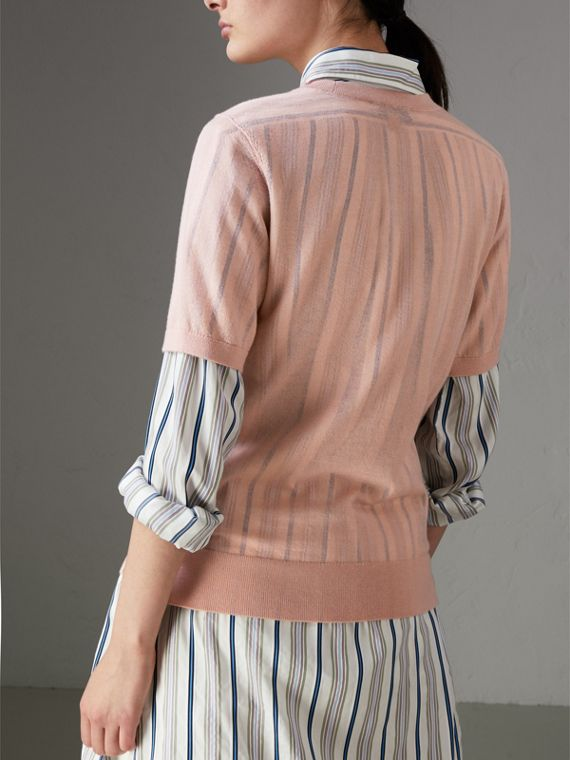 Short-sleeve Cashmere Sweater in Thistle Pink - Women | Burberry - cell image 2