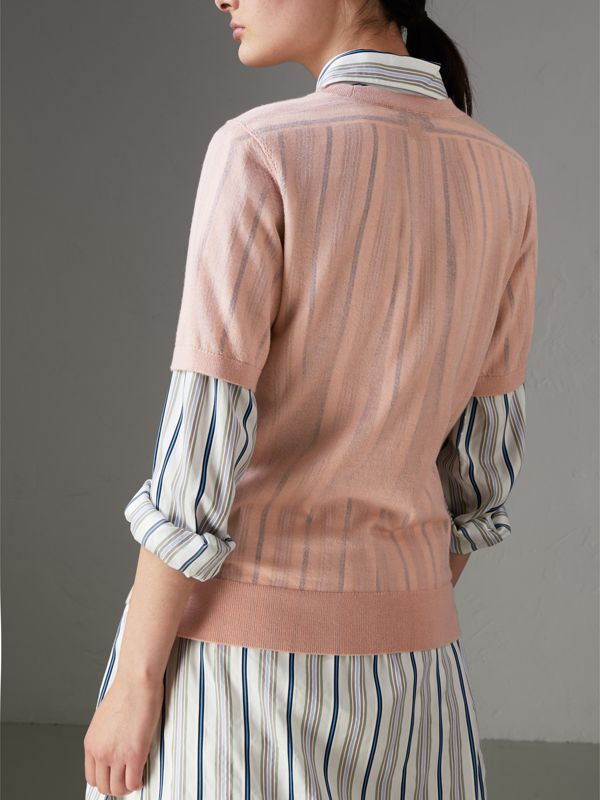 Short-sleeve Cashmere Sweater in Thistle Pink - Women | Burberry United Kingdom - cell image 2