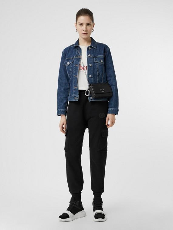 Pantaloni tuta in jersey di cotone con tasche (Nero)
