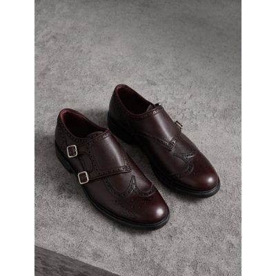 Brogue Detail Textured Leather Monk Shoes in Red