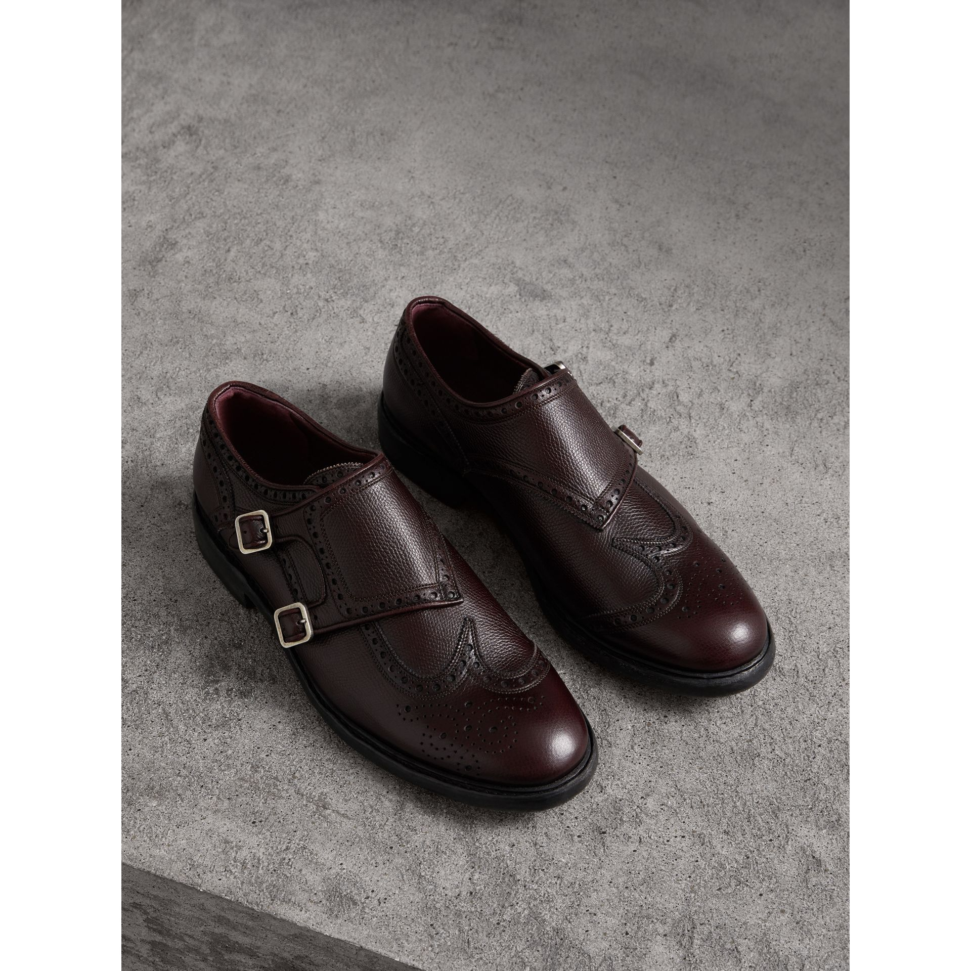 Brogue Detail Textured Leather Monk Shoes in Burgundy Red - Men | Burberry Singapore - gallery image 0