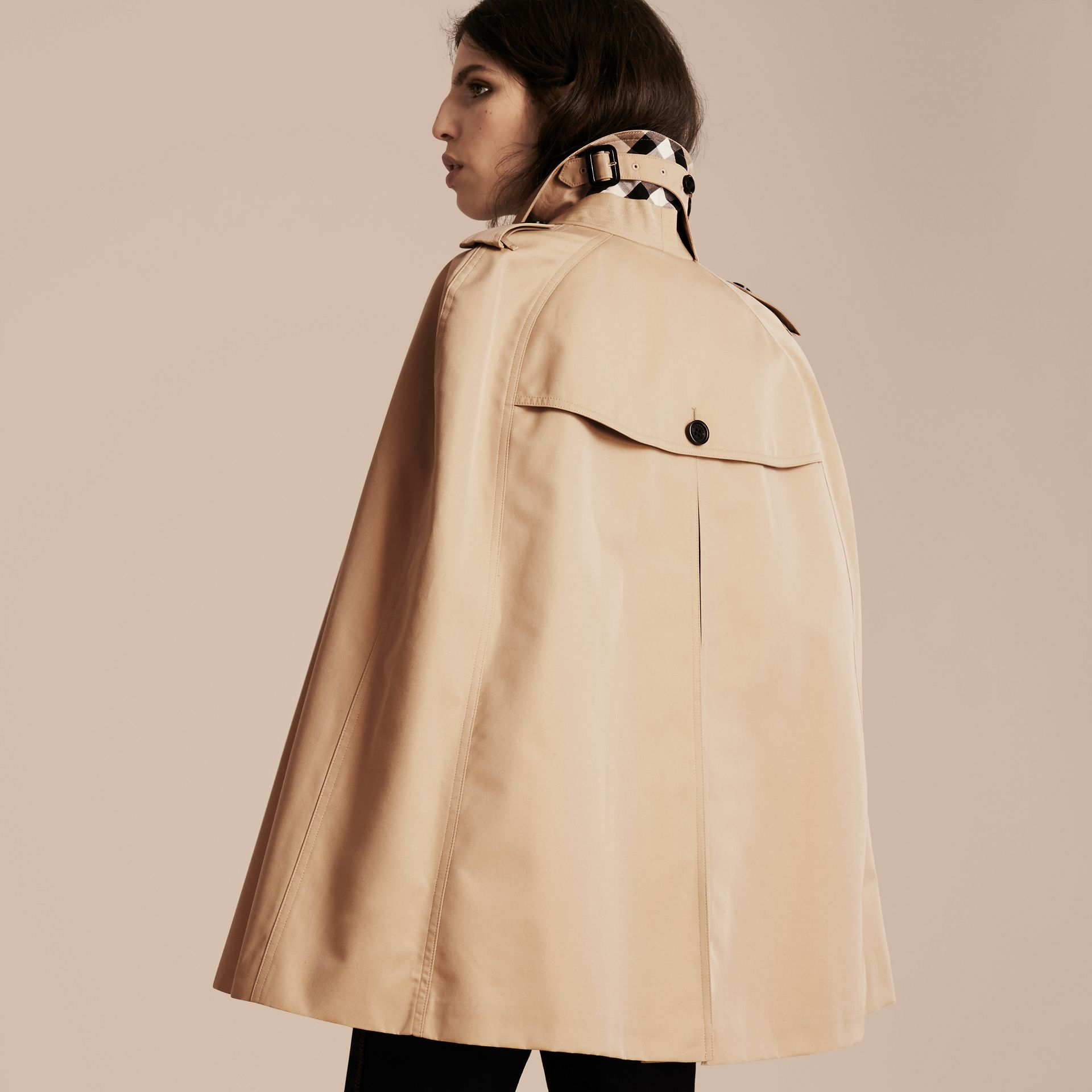 Honey Cotton Gabardine Trench Cape - gallery image 3