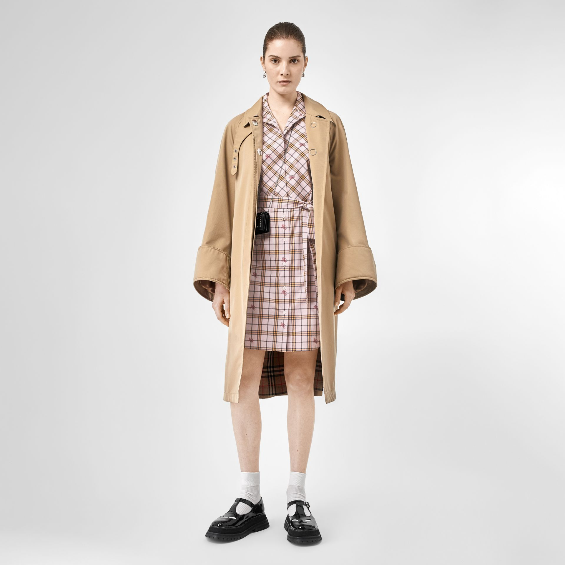 EKD Check Cotton Tie-waist Shirt Dress in Alabaster Pink - Women | Burberry United Kingdom - gallery image 5