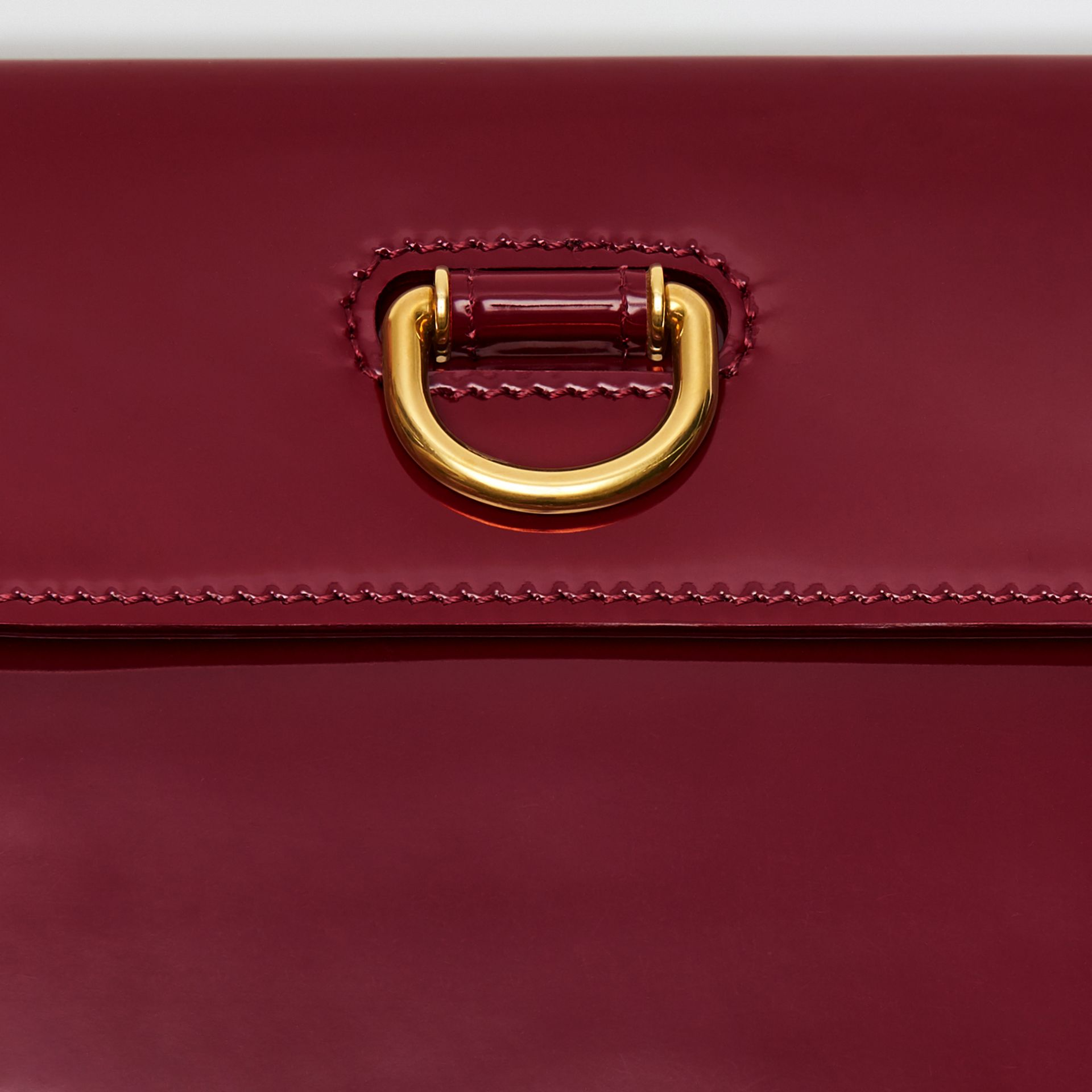 D-ring Patent Leather Pouch with Zip Coin Case in Crimson - Women | Burberry Australia - gallery image 1