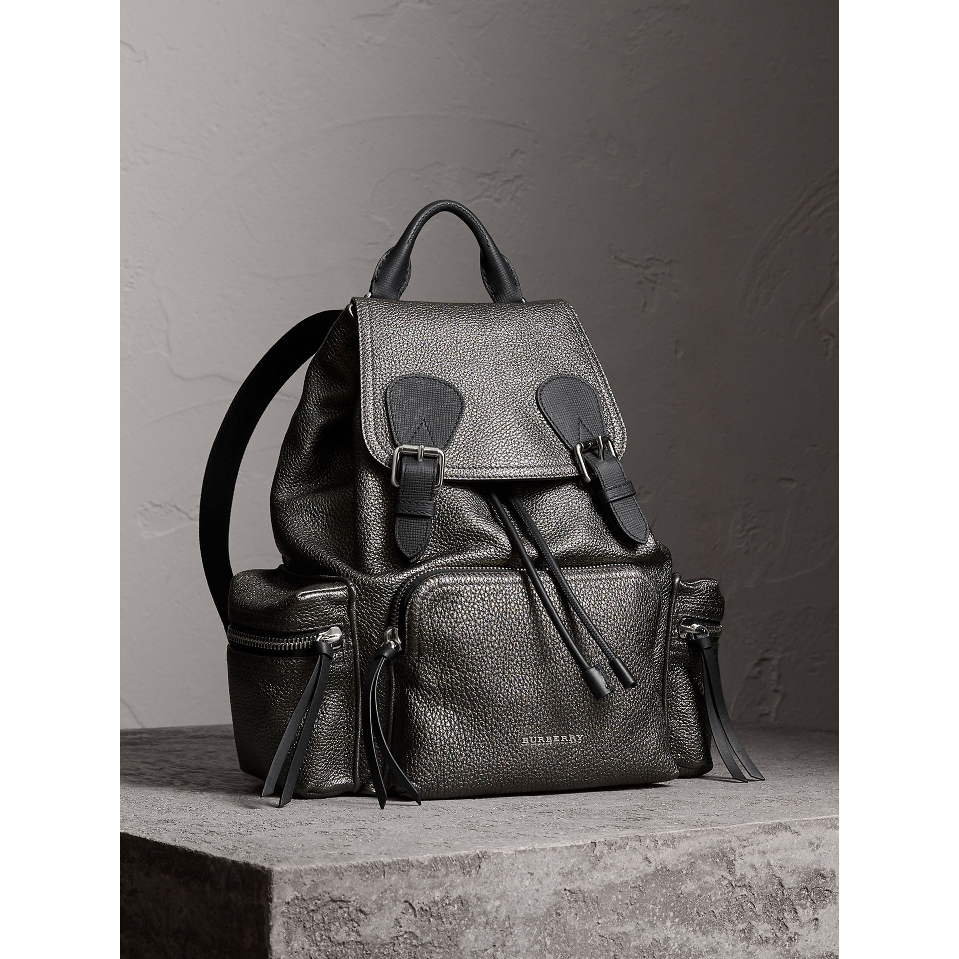 The Medium Rucksack in Metallic Deerskin in Dark Grey - Women | Burberry - gallery image 1