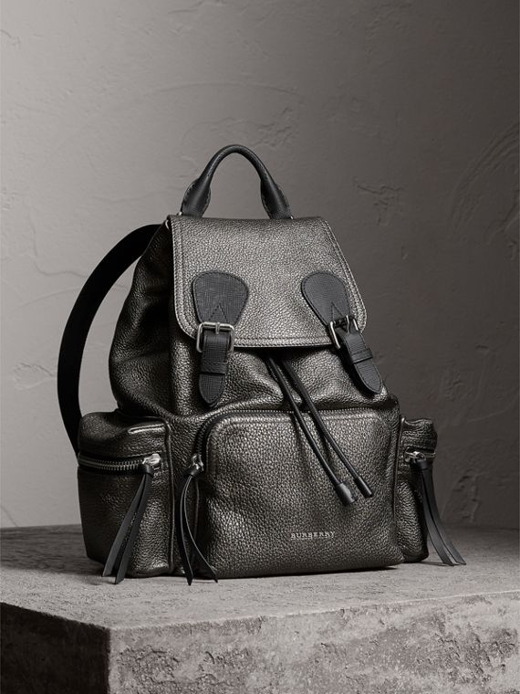 The Medium Rucksack in Metallic Deerskin in Dark Grey